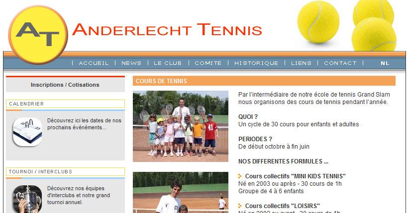 Portfolio sites internet anderlecht tennis pixcell for Cours de tennis en ligne